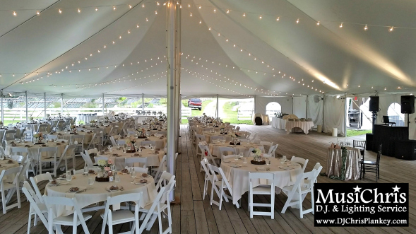 String lighting under this 60 x 100 wedding tent at Hancock Shaker Village in Hancock Mass. Click the picture to see more from this event and venue. & DJ in Pittsfield Mass - DJ Chris Plankey | Serving The Berkshires ...