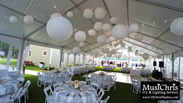 The event tent at this Lake House Guest Cottages of the Berkshires wedding featuring my dimmable LED globe style string lighting with optional white paper ... & DJ in Pittsfield Mass - DJ Chris Plankey   Serving The Berkshires in ...